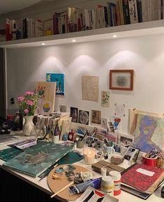 Collection | yourfavealina | VSCO Room Ideas Bedroom, Bedroom Inspo, Bedroom Decor, Artist Aesthetic, Aesthetic Room Decor, Dream Rooms, Dream Bedroom, Art Studio Room, Deco Cool