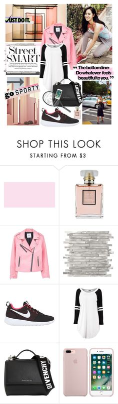 """""""Just do it; Go Sporty"""" by rachel-is-epic ❤ liked on Polyvore featuring Chanel, MANGO, Ricardo, NIKE, Givenchy, StreetStyle, leatherjacket, nike, teeshirtdress and millenialpink"""