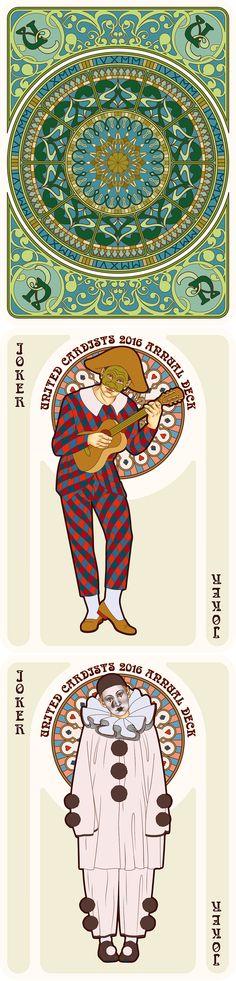 NOUVEAU Playing Cards Back, Harlequin Joker, Pierrot Joker - playing cards art, game, playing cards collection, playing cards project, cards collectors, design, illustration, card game, game, cards, cardist, cardistry