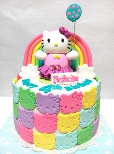 Rainbow Hello Kitty cake... - Cake by lyanne