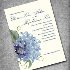 Our wedding Invitation Set, Thanks, Seals, RSVP - Hydrangea. So beautiful and they're in the mail!!!