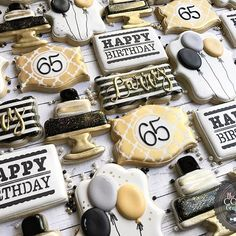 Happy 65th Birthday Party Cookies! Thank you to Chelsea at @sweetsouthernstencils for turning my font design into a workable stencil. I love it!! #blackwhitegoldtheme #blackwhitegoldcookies #happybirthday #sweetsouthernstencils #sparkles #thecookiecountess #thecookiecountessmonogramstencil