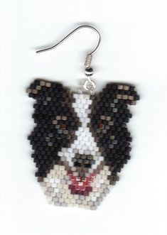 Hand beaded sweet little Border Collie dog head dangle earrings