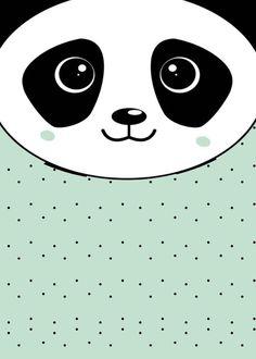 Invitación. Panda fondo menta.