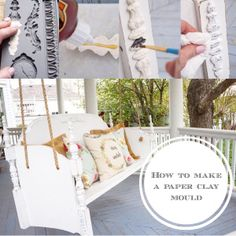 DIY How to make a paper clay mold to add vintage charm to furniture. Strong Knots, Salvaged Decor, Iron Orchid Designs, Headboard And Footboard, Paper Clay, Diy Clay, Old Wood, Porch Swing, Wood Doors