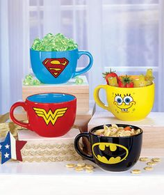Wonder Woman, Superman, Batman or SpongeBob fans will love spooning their soup from this Licensed Soup Mug. The ceramic mug features the face or logo of Stoneware Mugs, Ceramic Mugs, Coffee Cups, Tea Cups, Love Spoons, Ltd Commodities, Lakeside Collection, Soup Mugs, Cute Mugs