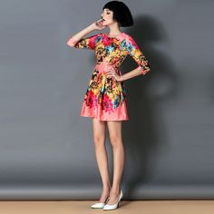 Hot sale new 2015 winter women casual dress European7American high-end Classical colorful flower printing women winter dress