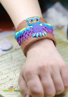Create a bracelet with an owl made of polymer clay