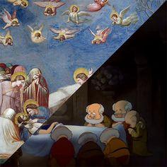"""conformi: """" Giotto, Compianto sul Cristo Morto, Cappella degli Scrovegni, Padova, 1303-1035 VS Walt Disney, Snow White and the Seven Dwarfs, 1937 """""""