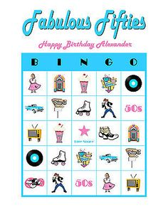 Fabulous Fifties 50s 1950 Personalized Birthday Party Game Bingo Cards