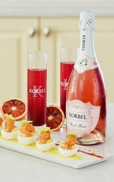 Korbel California champagne provides the perfect food and drink pairing with their Crimson Sparkle cocktail and Buffalo Chicken Deviled Eggs. Fruity Cocktails, Fun Drinks, Yummy Drinks, Alcoholic Drinks, Chicken Deviled Eggs, Cocktail Recipes, Drink Recipes, Blood Orange, Buffalo Chicken