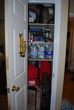 Emergency Prep Closet--  what a GREAT idea!... this could work using a melamine build-it-yourself cabinet in a garage or basement.... hmmm.... must do!