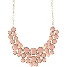 Charlotte Russe Faceted Stone Bib Necklace ($6) ❤ liked on Polyvore featuring jewelry, necklaces, dusty rose, bib necklace, charlotte russe, charlotte russe necklaces, round necklace and charlotte russe jewelry