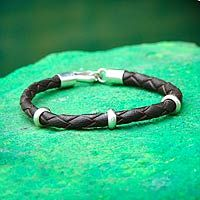 Thai Men's leather and sterling silver bracelet, 'Brown Chankas Warrior'