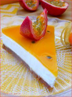 « Cheesecake » aux fruits de la passion sans cuisson {vegan}