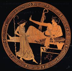 Brygos Vasepainter (1st half 5th BC) Red-figured cup,made in Athens,Greece, 490-480 BCE. Scenes of symposia were a popular subject for painted pottery vessels used on such occasions. Here, a young man reclines on a couch while a girl dances before him. The young man holds a pair of flutes,perhaps removed from the spotted skin-case hanging behind him. GR 1848.6-19.7 British Museum, London, Great Britain