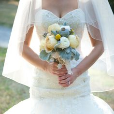 Stunning bridal bouquet of large muted green poppy pods | AMB Photo | Sparrow Floral Design, Ottawa, ON