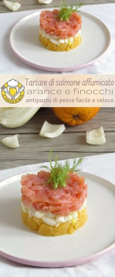 Tartare di salmone affumicato, arance e finocchi: antipasto di pesce facile e veloce, senza cottura, elegante e raffinato. Ideale da servire tra gli antipasti freddi per la vigilia di Natale o per Capodanno, ma anche per ogni occasione speciale! Smoked salmon, fennel and orange tartare #italianfood #christmas #foodphotography Gourmet Recipes, Appetizer Recipes, Cooking Recipes, Carpaccio, Xmas Food, Weird Food, Slow Food, Salmon Recipes, Creative Food