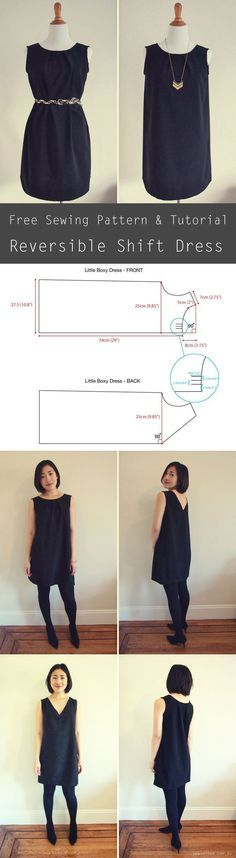 Free sewing pattern - reversible shift dress. The dress can be worn 2 ways: pleated crewneck or v-neck!                                                                                                                                                      More
