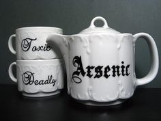 Teacup - Victorian Inspired - Hand Painted Tea Set - Treacherous Tea Party. $ 55.00, via Etsy. :: SOLD ::