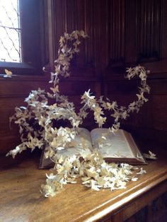 Book Sculpture for The John Rylands Library 2014 - Vintage bible, wire and vintage papers by Lesley Sutton Book Sculpture, Pretty And Cute, Vintage Paper, Sword, Art Work, Book Art, My Arts, Bible, Table Decorations