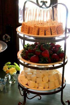 Fondue Party Idea.  Rice Krispie treats on sticks, strawberries, and marshmallows.