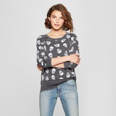 e95e3d837da92 Women's Skull Print Sweatshirt - Grayson Threads (Juniors') Black S