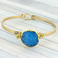 "#287 Wire-Wrapped Aqua Druzy Quartz Goldtone Hook Add a hint of color to your outfit with this stylish bracelet! 2.5"" Diameter * Hook Closure * Goldtone * 0.75"" Round Druzy Quartz Stone Jewelry"
