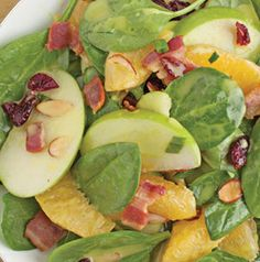 Spinach salads with hot bacon dressing are just the best! Applewood Bacon Spinach Salad has apples, oranges and cranberries for a different spin.