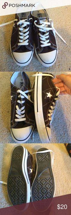 Converse One Star Brand new, never worn pair of women's Converse, women's size 9. Never worn because they were too big. They are brown with a white star on each side. Cute pair of shoes, just doesn't fit my foot. Converse Shoes Sneakers
