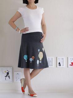 Maternity Knee Length Skirt . Cotton A-line Skirt . Handmade Applique Skirt- Hot air balloon
