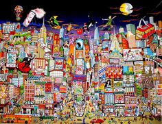 "Charles Fazzino ""Bright Lights, Big City, Broadway"" 3-D Serigraph 39"" x 31"""