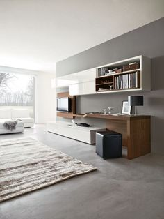 Living room composition 528 from modular collection Sistema 302. Composition particularity is workdesk integrated into living room.