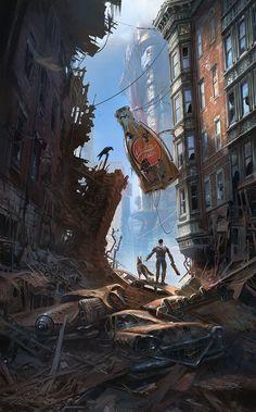 Fallout 4 Downtown, Ray Lederer on ArtStation at https://www.artstation.com/artwork/lrq8O