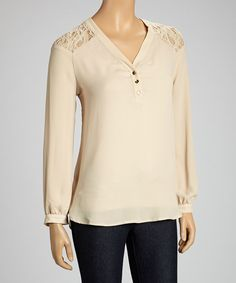 Take a look at this Faith and Joy Beige Lace Panel V-Neck Top on zulily today!