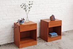 Pair of beautiful mid century modern teak bedside tables / nightstands / end tables. Designed by Arne Wahl Iversen for Vinde Mobelfabrik, made