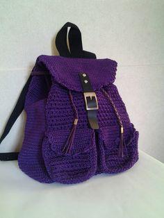Items similar to Alesha crochet backpack/backpack/Casual/woman bag/ shoulder bag/ crochet bag/Medium/green/crochet bag/gifts for her/bag on Etsy Crochet Handbags, Crochet Purses, Crochet Bags, Crochet Shoes, Diy Crochet, Handmade Handbags, Handmade Bags, Crochet Stitches, Crochet Patterns