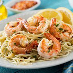Spaghetti aux crevettes (sans gluten, ni œuf, ni lait) - une recette Pâtes - Cuisine   Le Figaro Madame