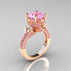 Classic French 14K Rose Gold 3.0 Carat Light Pink Sapphire Solitaire Wedding Ring R401-14KRGLPS