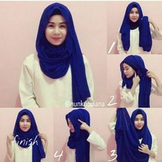 Check out this quick hijab tutorial fit for this coming season, it's worn loosely and gives you extra folds and volume, you will need an underscarf for this look, a maxi hijab and some pins. First step is as usual… How To Wear Hijab, Hijab Wear, Hijab Dress, Hijab Outfit, Simple Hijab Tutorial, Hijab Simple, Hijab Style Tutorial, Scarf Tutorial, Islamic Fashion