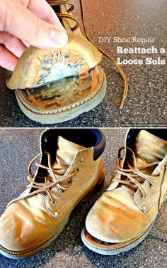 DIY Hacks for Ruined Clothes. Awesome Ideas, Tips and Tricks for Repairing Clothes and Removing Stains in Clothing | How to Reattach a Loose Sole | http://diyjoy.com/diy-hacks-for-fixing-ruined-clothes