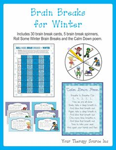 BRAIN BREAKS FOR WINTER: 30 Winter themed Brain Breaks, 5 brain break spinners, Roll Some Winter Brain Breaks and Calm Down poem. (AD)
