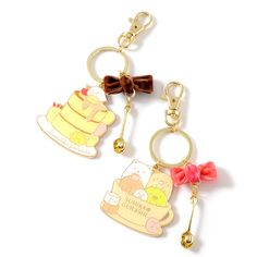 The shy little corner inhabitants of Sumikko Gurashi are looking mighty fancy in these dashing Cafe Sumikko Keychains! Made of metal, these keychains are available in a coffee cup design or a cake design, and each is decorated with a pretty velvety ribbon and a tiny golden spoon - just the right size for our diminutive corner-loving friends!  #toy