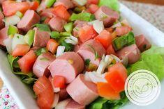 Receita de Salada Salsicha e Tomate, para ver a receita clique na imagem para ir ao Manga com Pimenta. No Salt Recipes, Quiche, Cantaloupe, Sushi, Salsa, Healthy Recipes, Fruit, Ethnic Recipes, Food