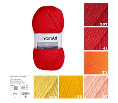 YarnArt ELITE red orange yellow pattern yarn от KnittingAndYarns