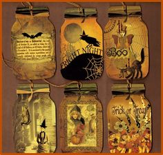 Spooky Vintage Print MASON JAR Halloween Tags..Scrapbooking,Journal,Bookmarks  OFG team. $3.75, via Etsy.