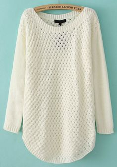 White Hollow-out Irregular Round Neck Acrylic Sweater.