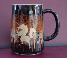 OTAGIRI Unicorn in the Woods COFFEE MUG cup barrel black gold color detail  #Otagiri