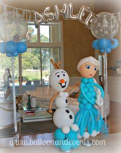 Decoracion con globos de Frozen