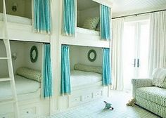 This style is girlie but I like the curtain idea, like an old train car...